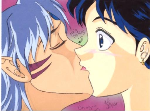 Sessy and Miroku Kiss @--@ I DREW THIS?! by kohaku_theblackwolf