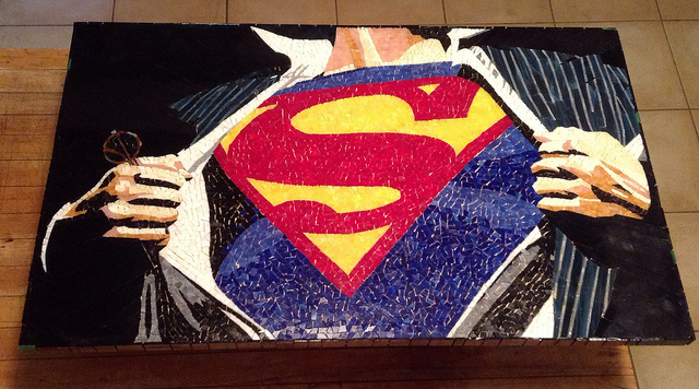 Superman Stained Glass Mosaic by kymedicineman