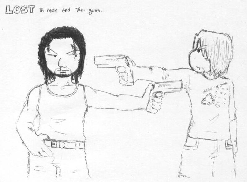 Sayid&Sawyer_men and their guns by LadyNorthstar