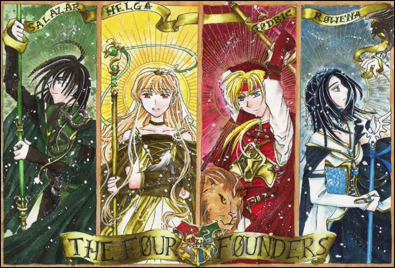 The Four Founders of Hogwarts by Len