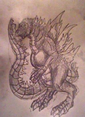 Sketch: Godzilla by LordStingray