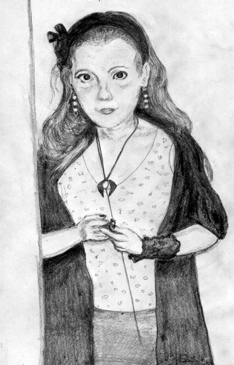 Girl wearing earrings and necklace by liggybird