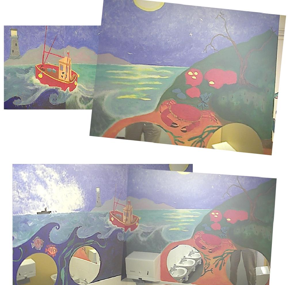 Mural painted (by me) on walls of a school cloakroom by liggybird