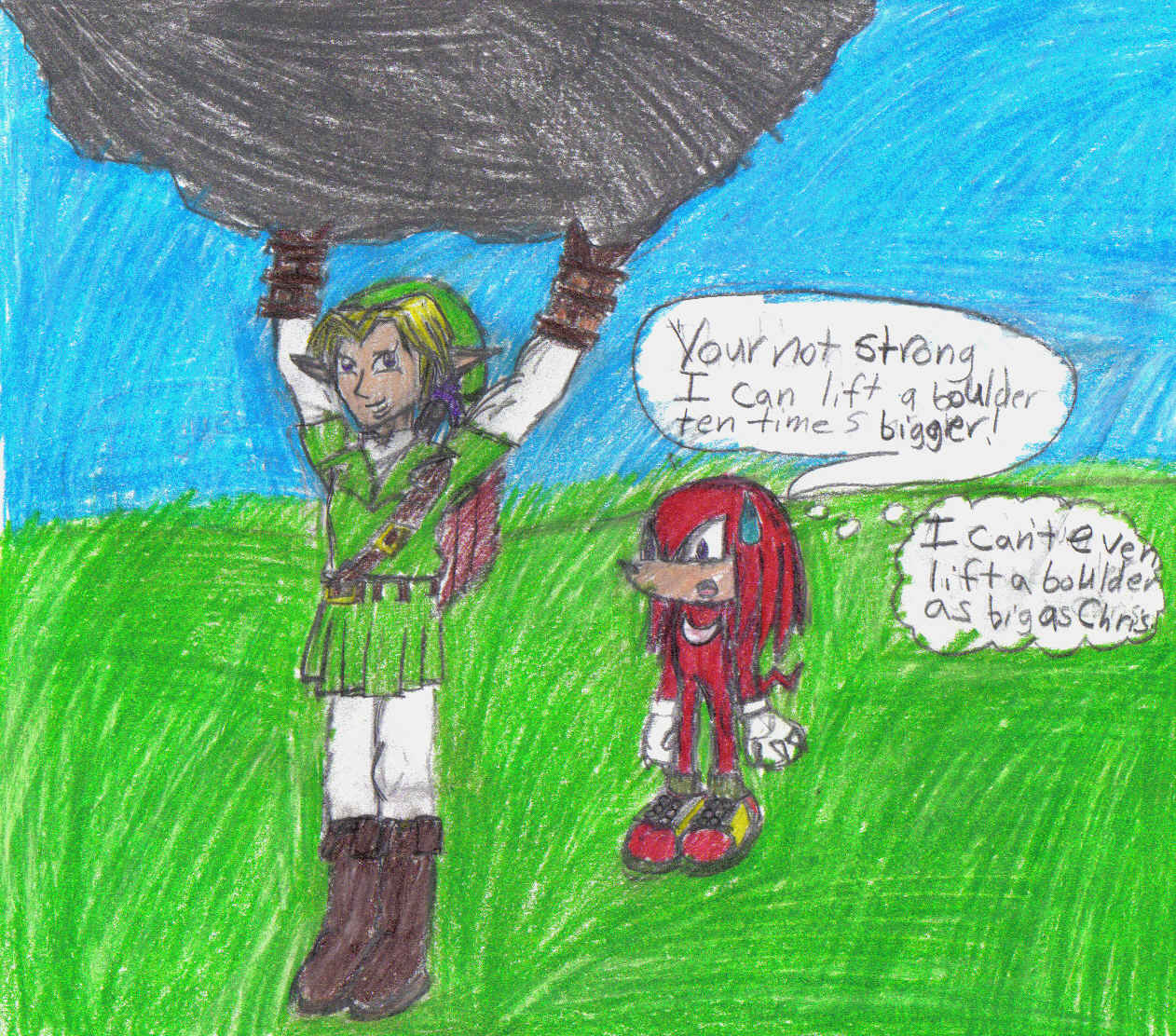 Link and Knuckles by lilshadowlover642