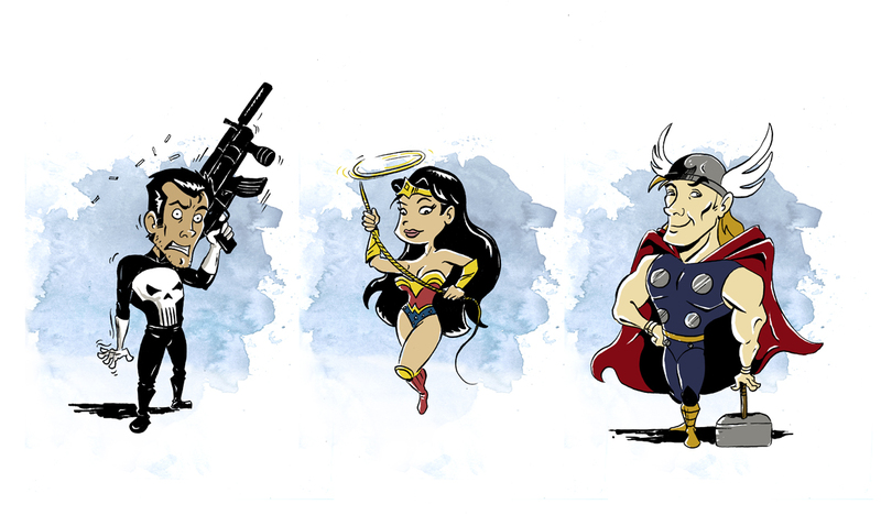 Wonder woman, Punisher and Thor by littlereddog