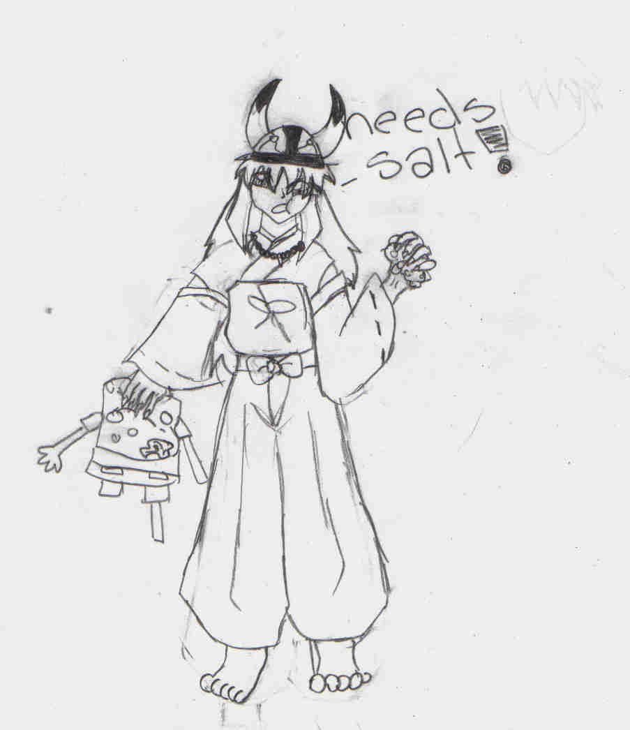 Inu-Yasha eating spongebob in a vikking hat (reque by lp-dragonfly