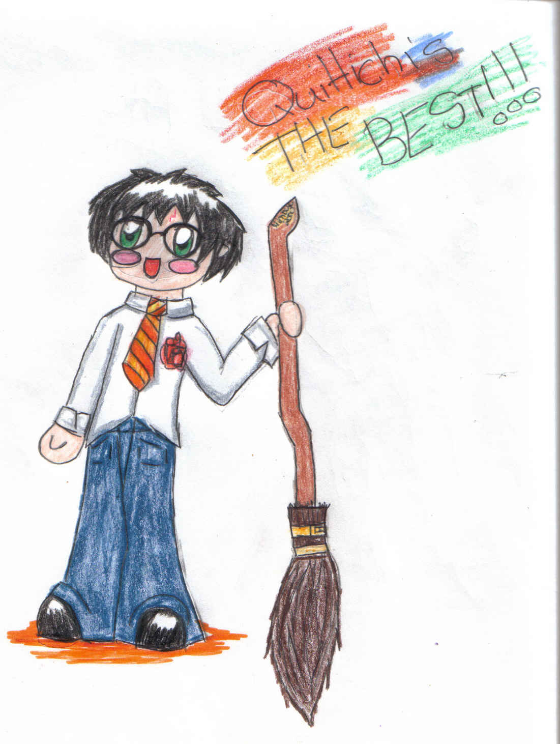 Chibi Harry with a broom by lp-dragonfly
