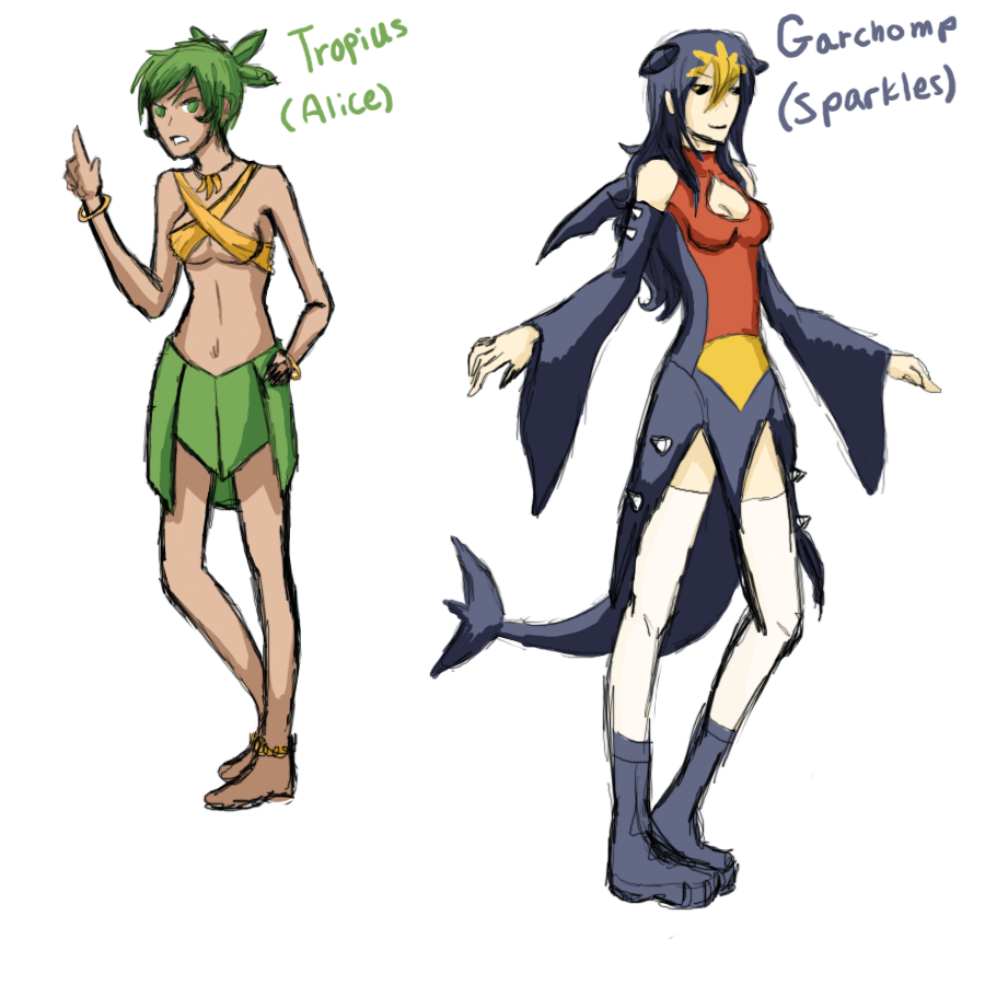 Garchomp and Tropius Gijinka by MINA-CHAN
