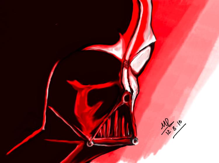 Dart Vader basked in Red by MagikfIngers