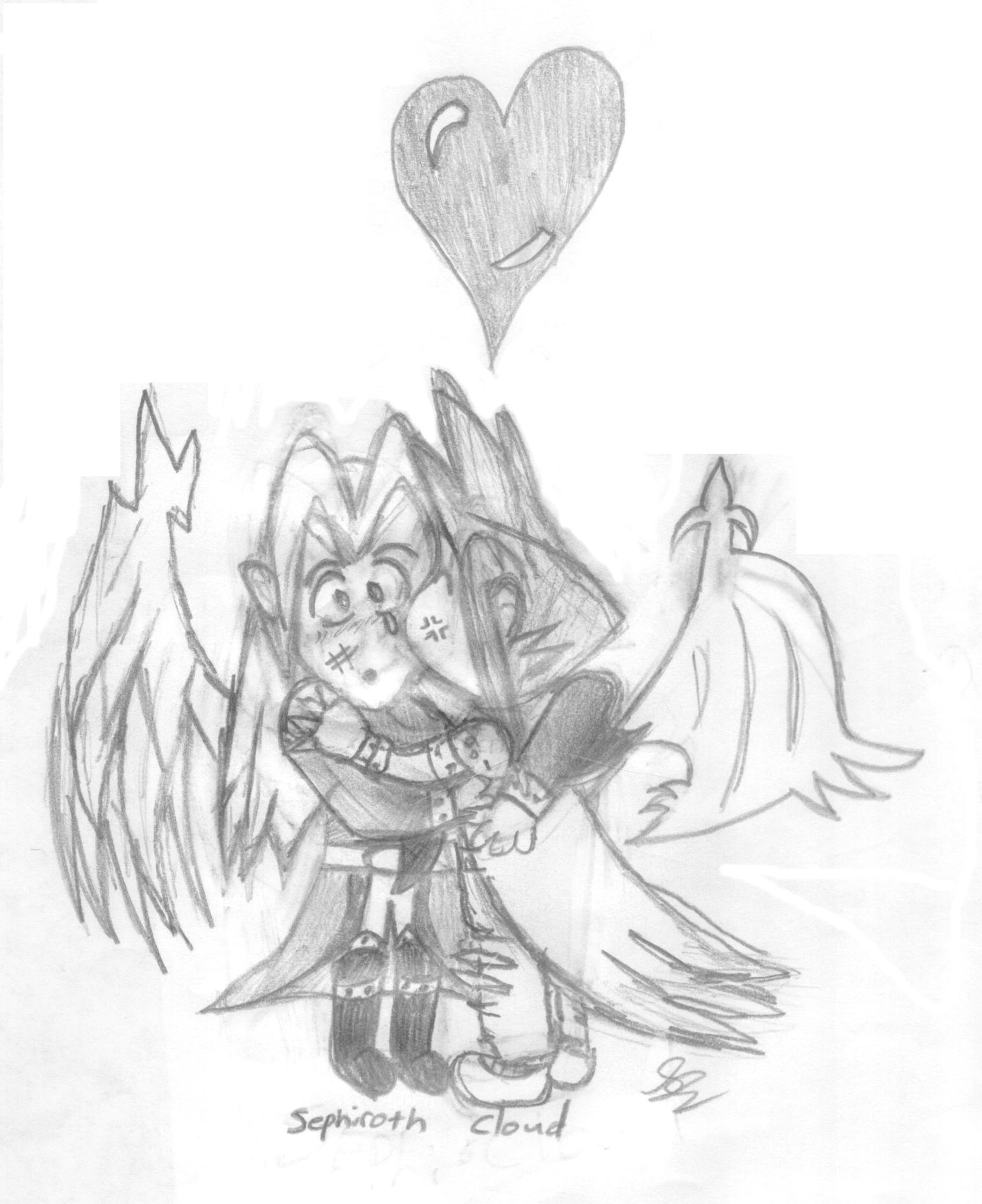 Chibi Cloud...Sephiroth...kissing? by MarluxiaLuva