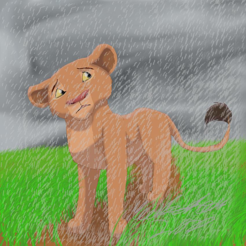 Cub Nala in the Rain by MeerkatQueen