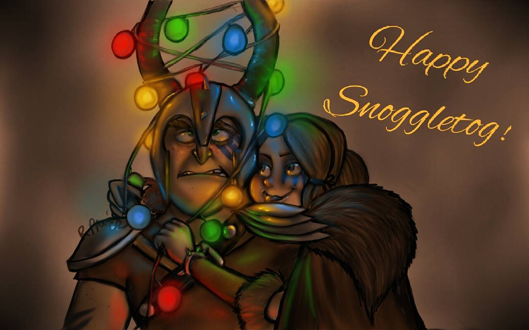 Dagur and Rae - Happy Snoggletog by MeltyCat