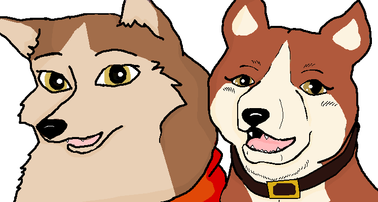 Jenna and Reika the Red Huskies by Mesavyhorse