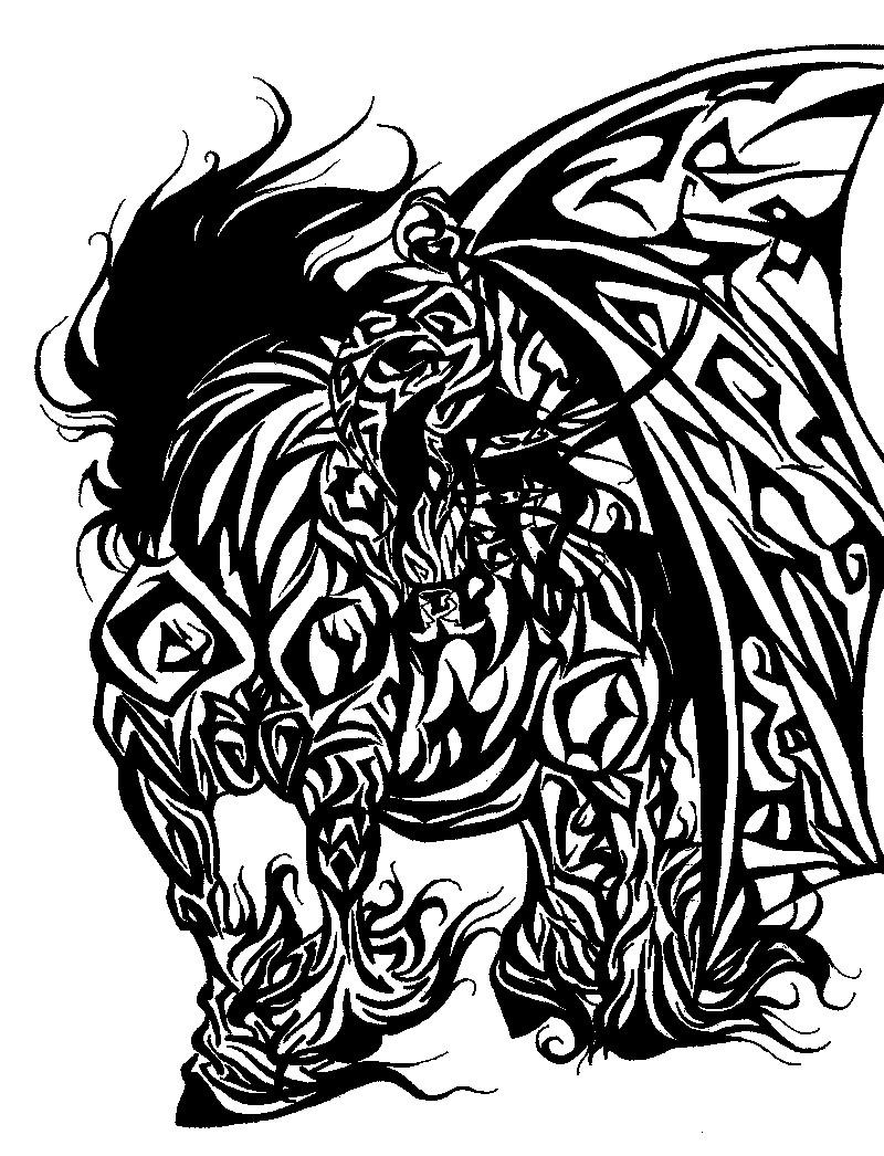 Tribal demon horse tattoo by marikinuyasha