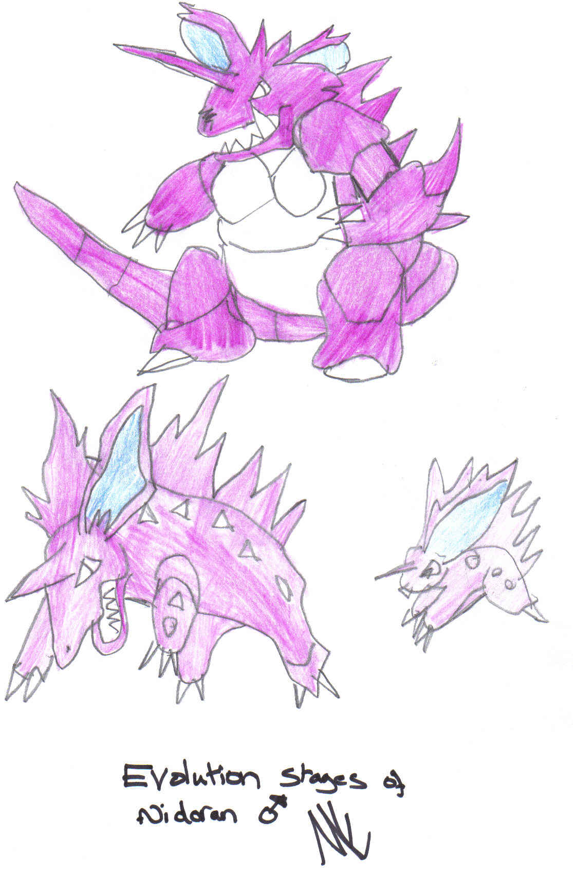 Evolution stages of nidoran (male) by minieero