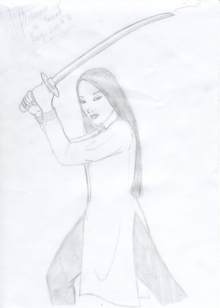 chinese Kung Fu girl with sword by miriamartist