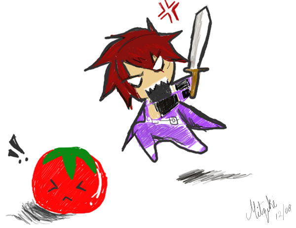 kratos vs tomatoe by mitzuki