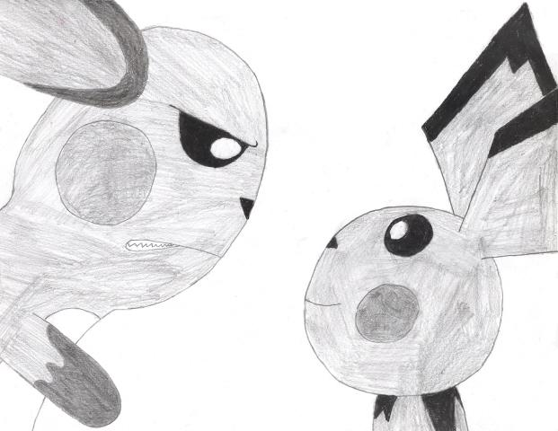 Pichu and an angry raichu by myartmaybebadbutatleastitry