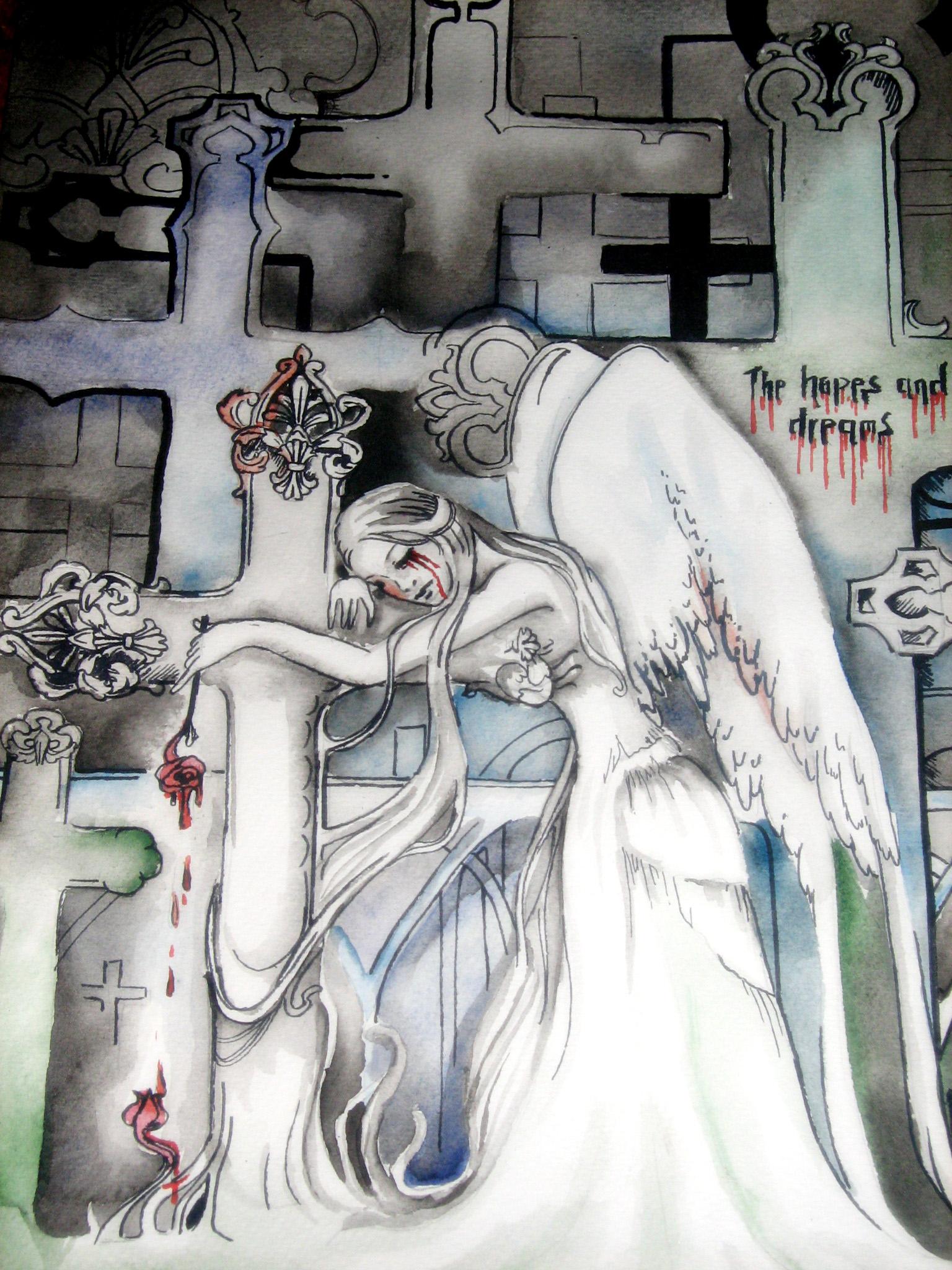 Angel in graveyard by NaNaNa