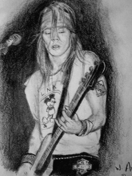 Axl playing bass guitar by Narmeret