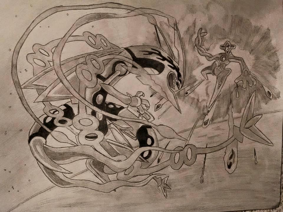 Mega Rayquaza vs. Deoxys by NierReplicant