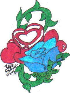 Blue Rose and Heart by NikNik