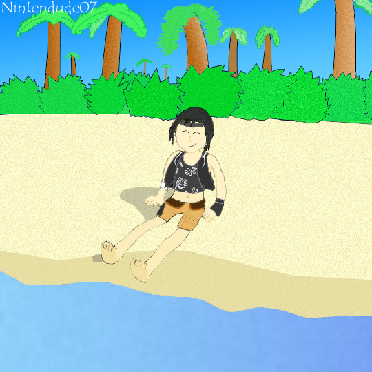 Yuffie At The Beach by Nintendude07