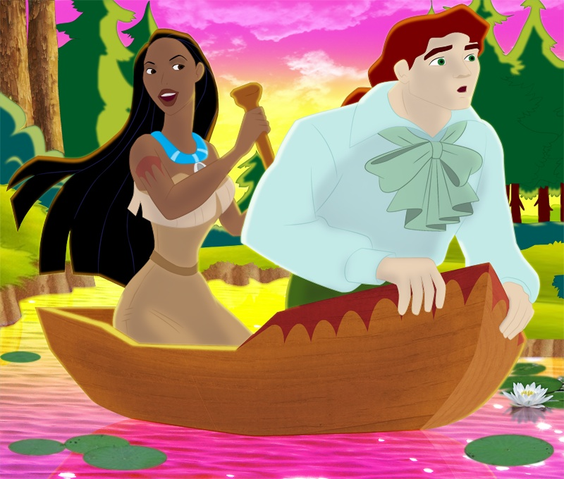 JR and Pocahontas in Canoe by ncfwhitetigress