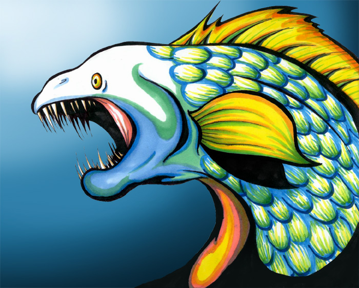 Blue and Green Fishie by nightmare_dreams