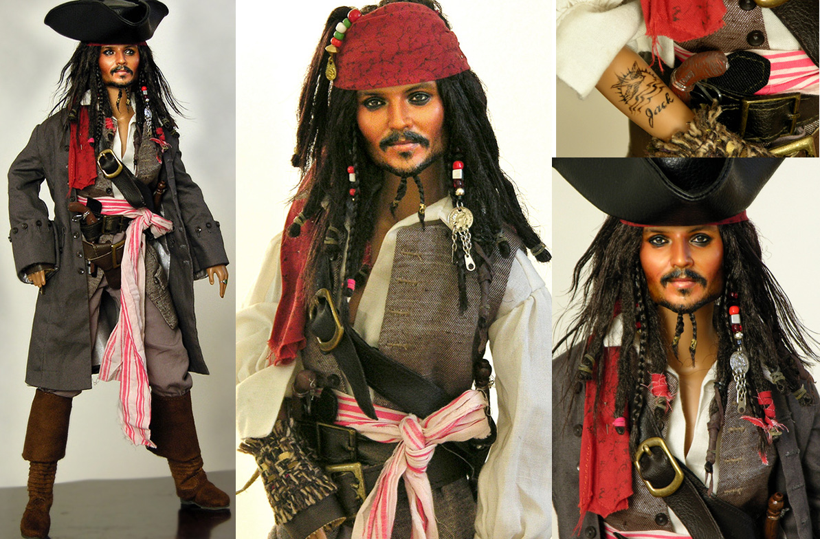Doll repainted as Capt. Jack Sparrow by noeling