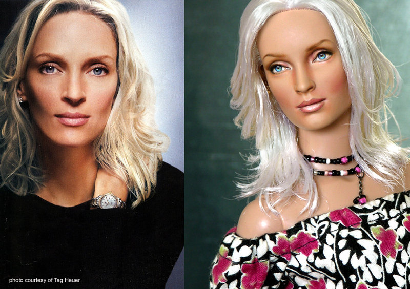 Doll repainted as Uma Thurman by noeling