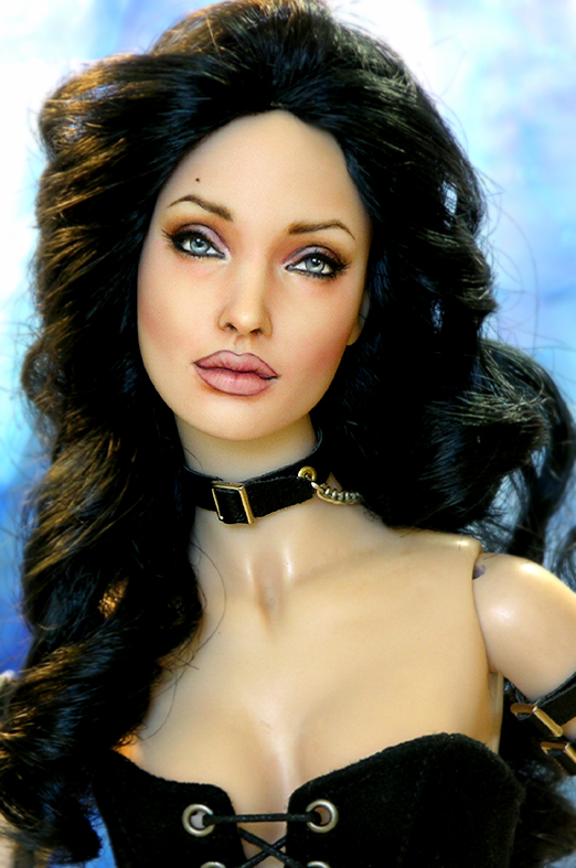 Doll repainted as Angelina Jolie by noeling
