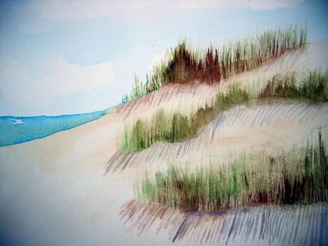 Watercolor beach by nozomiwhitewolf