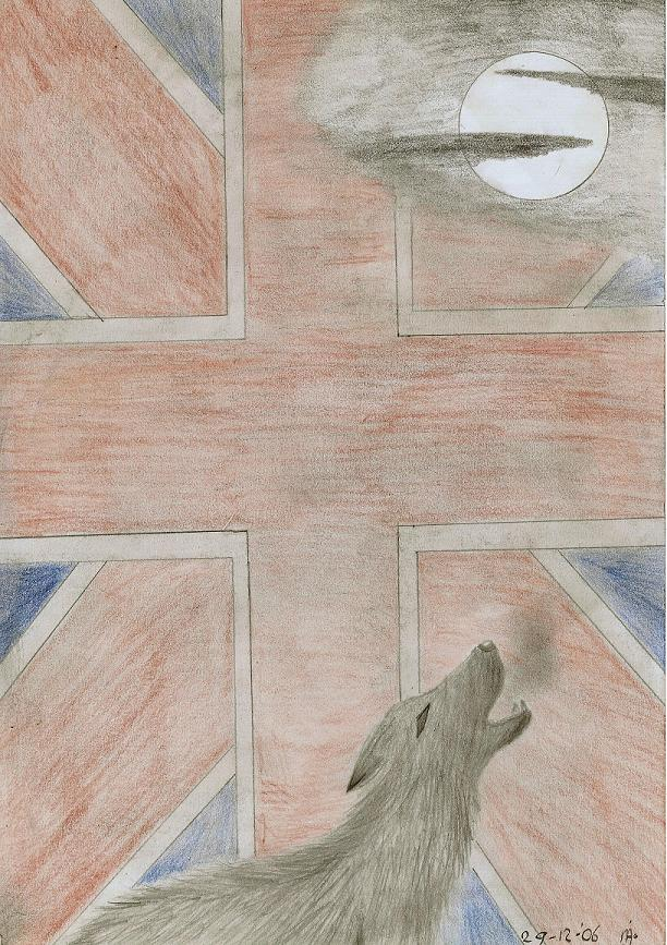 crying wolf with english flag by OliverandJames4ever