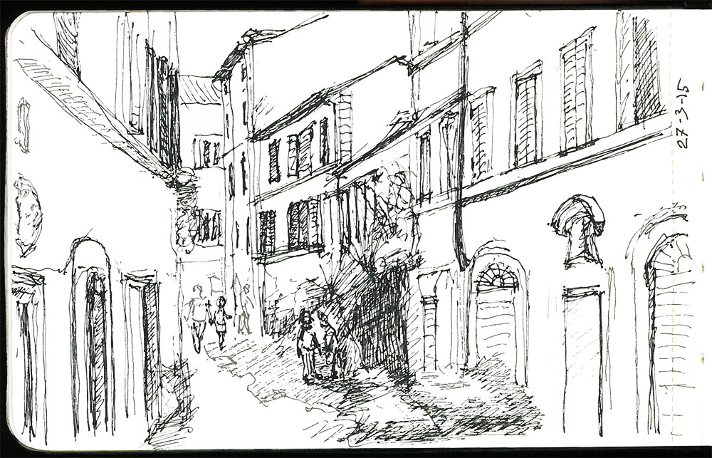 Street scene in Rome by OneDrawingDaily