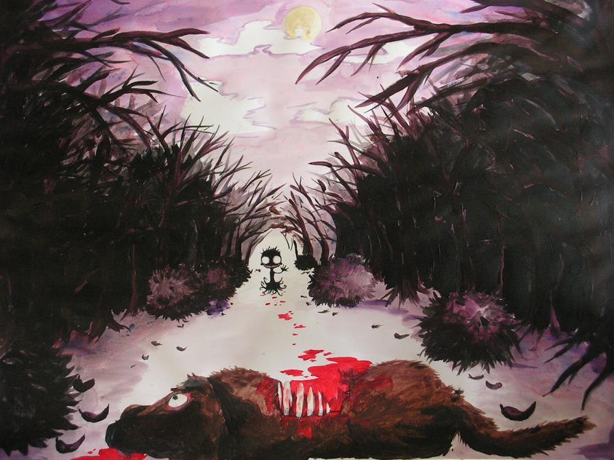 Spooky Boy With Dead Dog by Pienemien