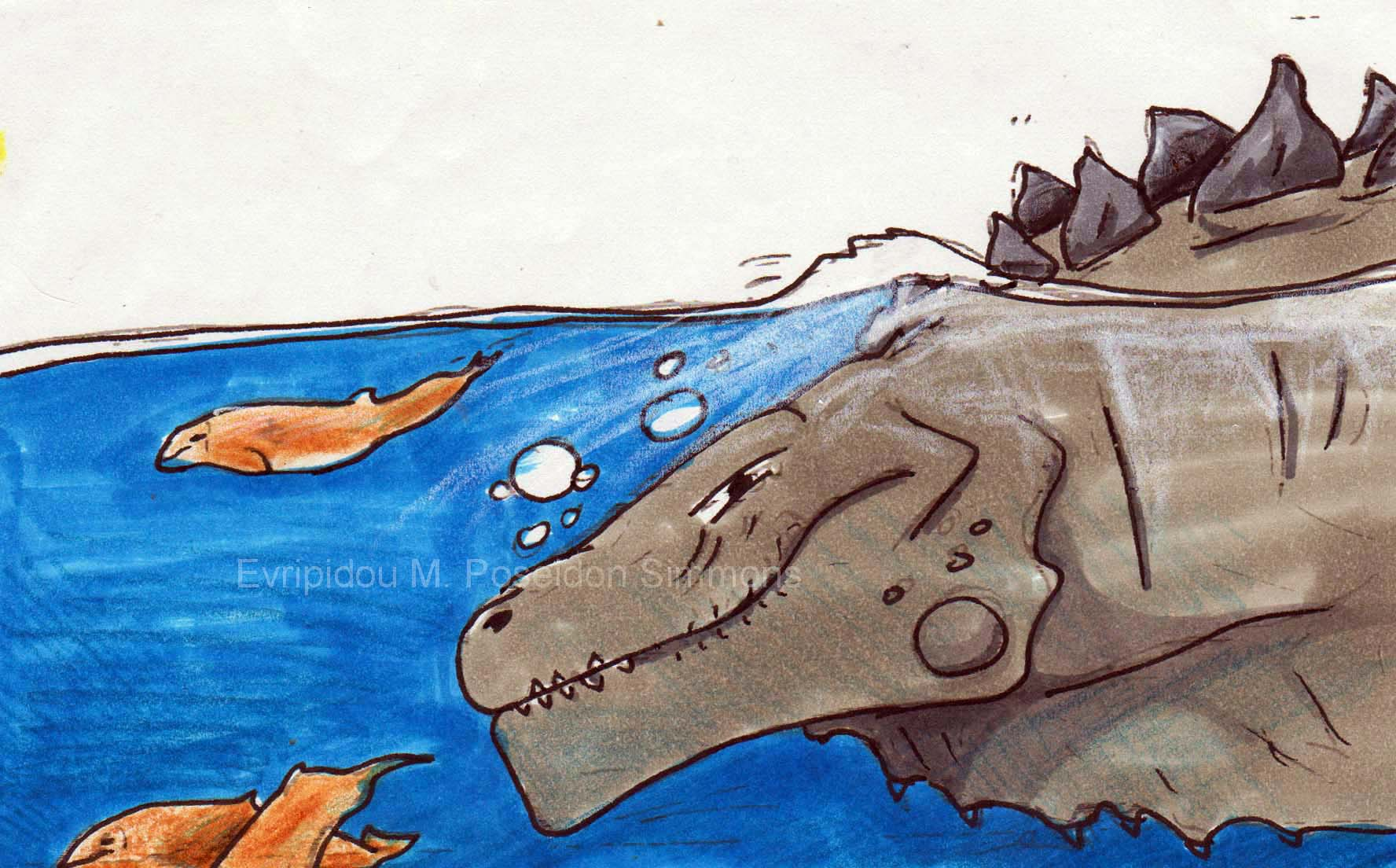 beaked whales bow riding in front of godzilla by Poseidon-Simmons