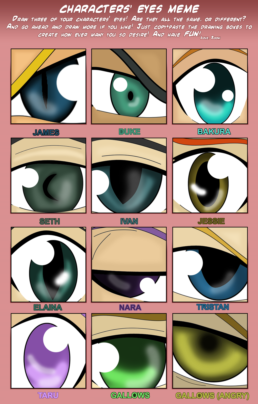Characters Eyes Meme by Prodigies