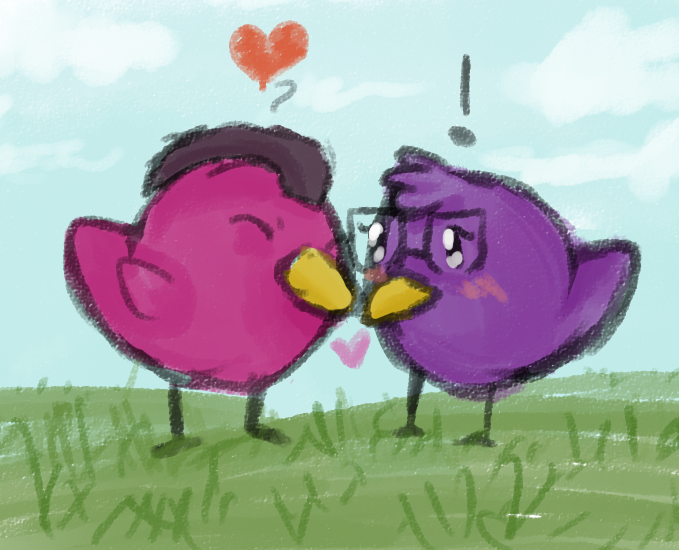 Bird Love by purplespore11