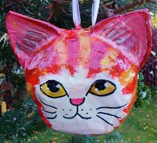 Paper mache cat Christmas tree bauble/ornament by RaggleTaggleGypsy