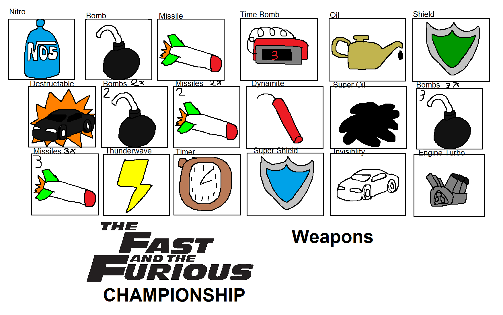 The Fast and the Furious Championship Weapons by Rainbow-Dash-Rockz