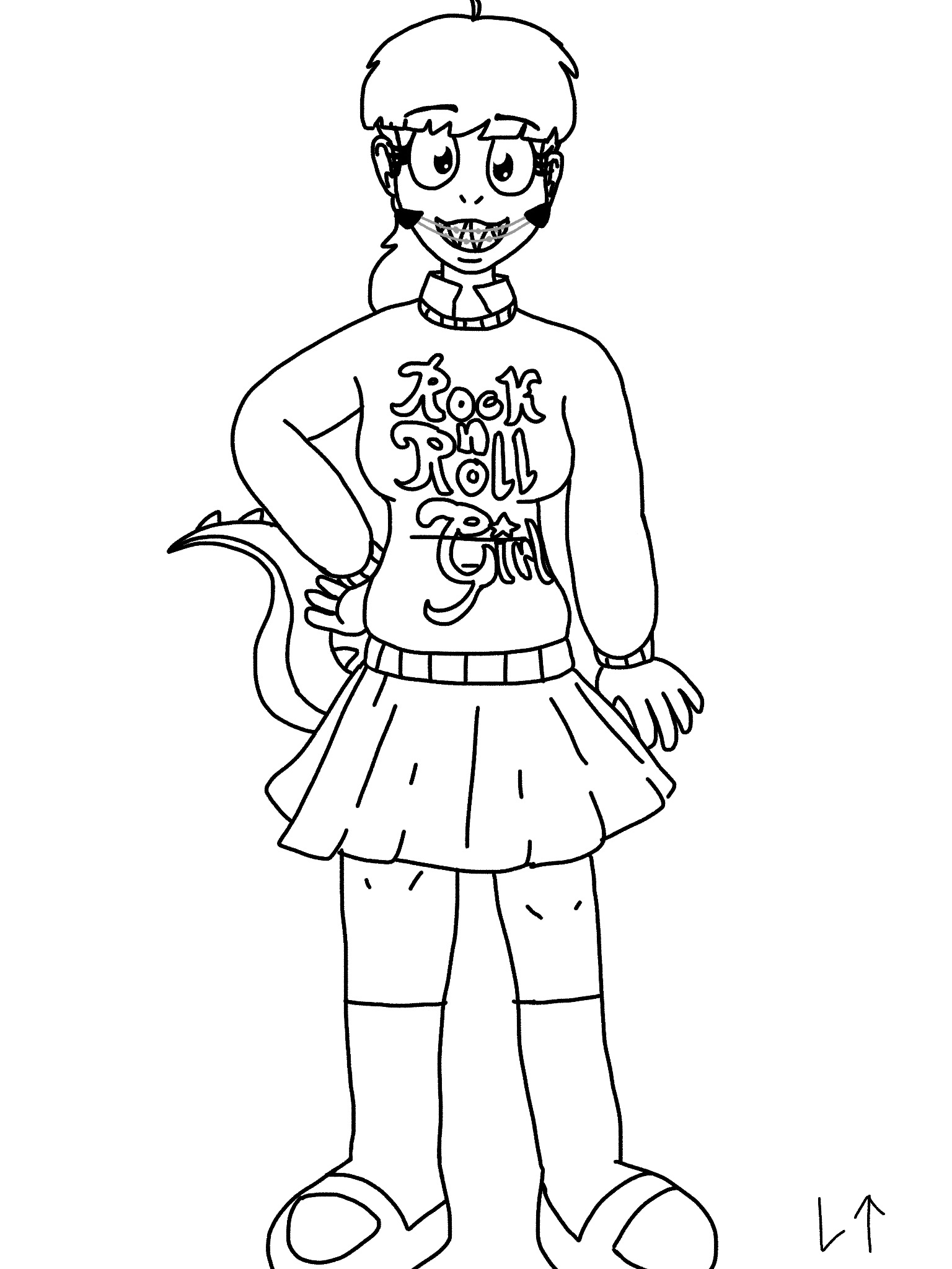 Arthur as Darla aka Audrey (Lineart) (Uncolored) by Rainbow-Dash-Rockz