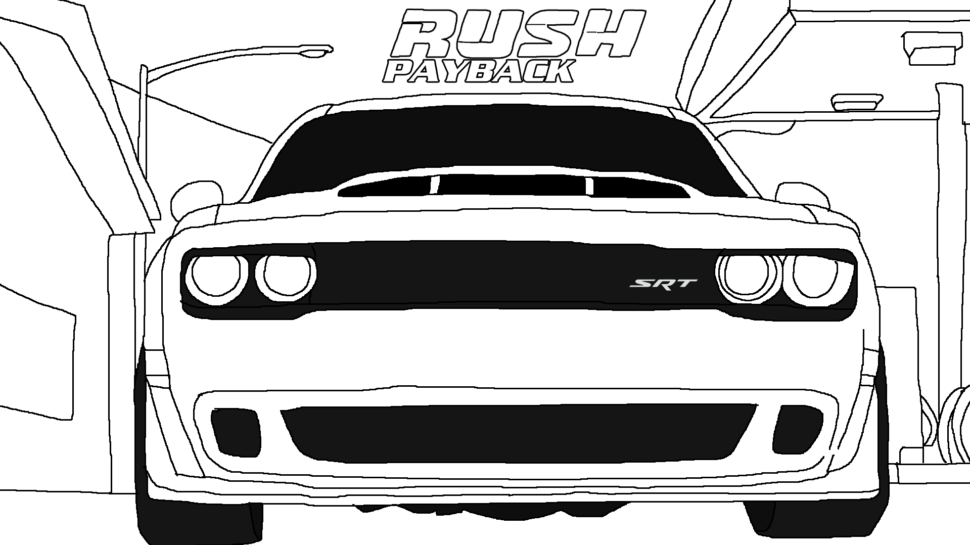 RUSH Payback - Dodge Challenger SRT Demon Lineart by Rainbow-Dash-Rockz
