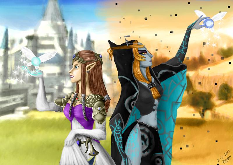 Zelda and midna by Rowena-white