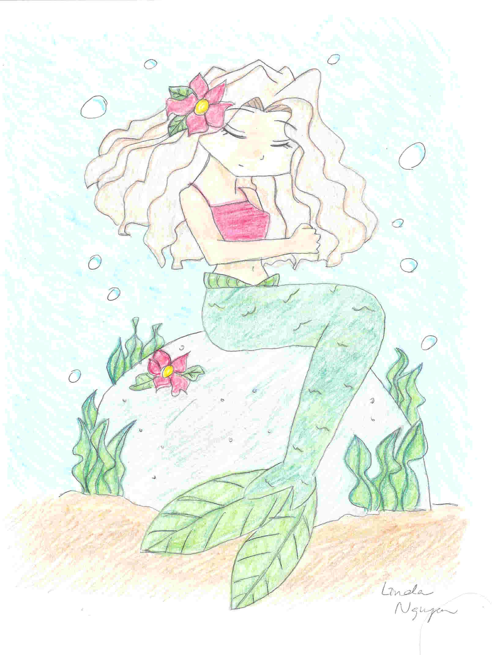 how to draw a mermaid sitting on a rock