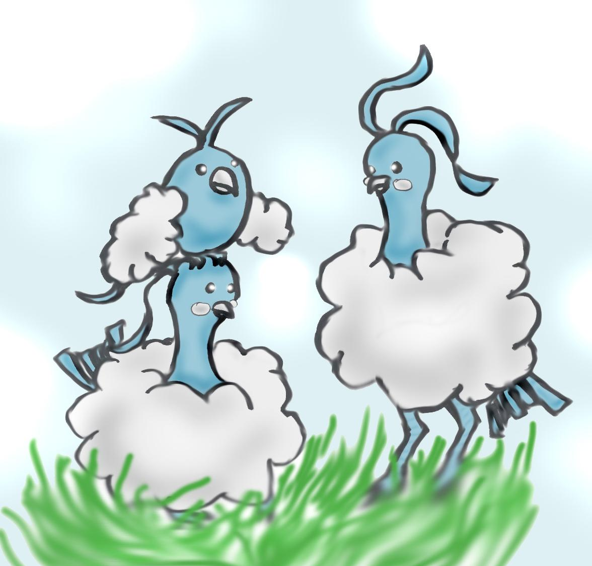 Family Flock- Altaria and Swablu by ryuuryuu