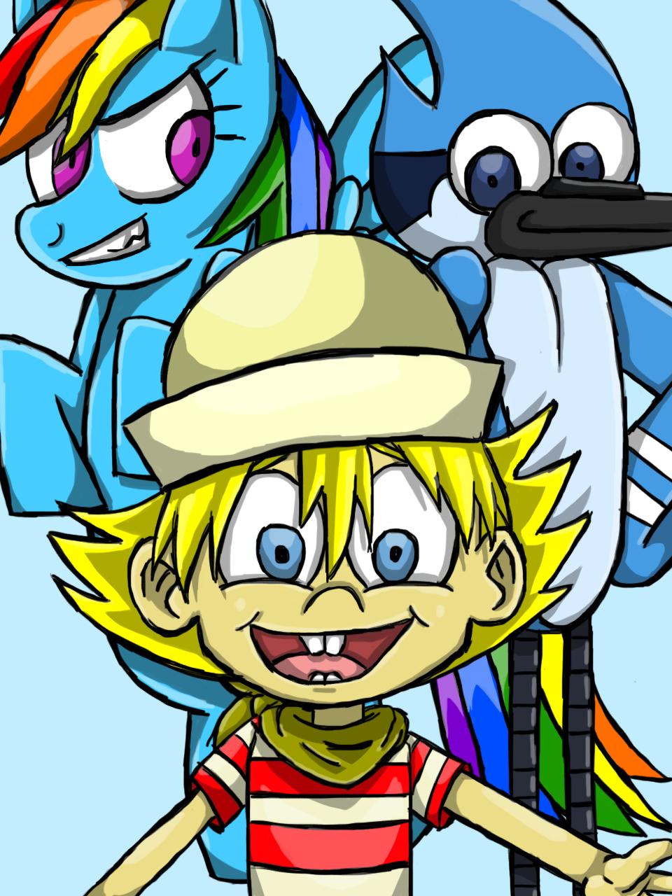 Rainbow Dash, Flapjack and Mordecai by SailorSeiyaDigiJem