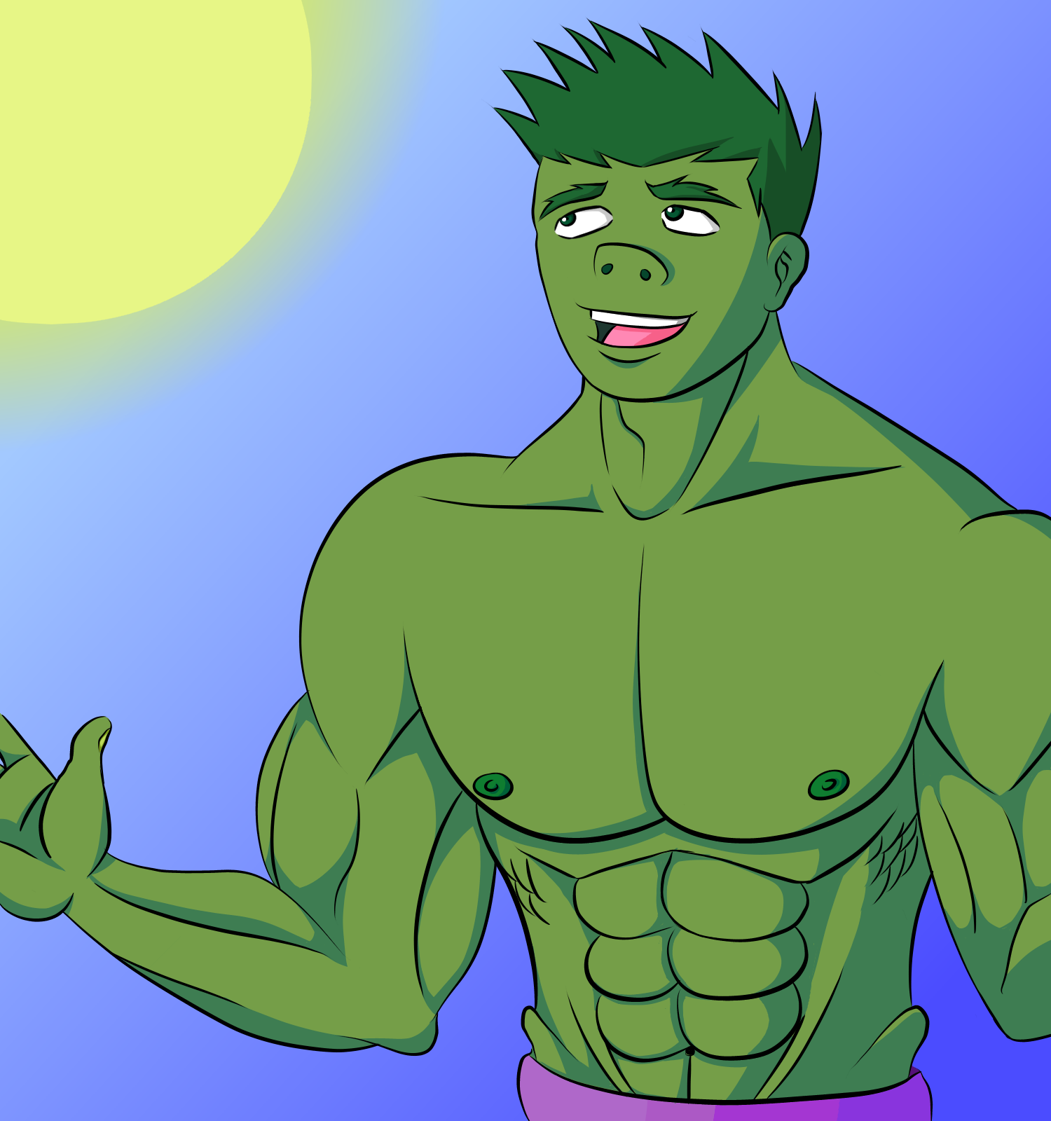 The Hulk is looking at the sun by SailorSeiyaDigiJem