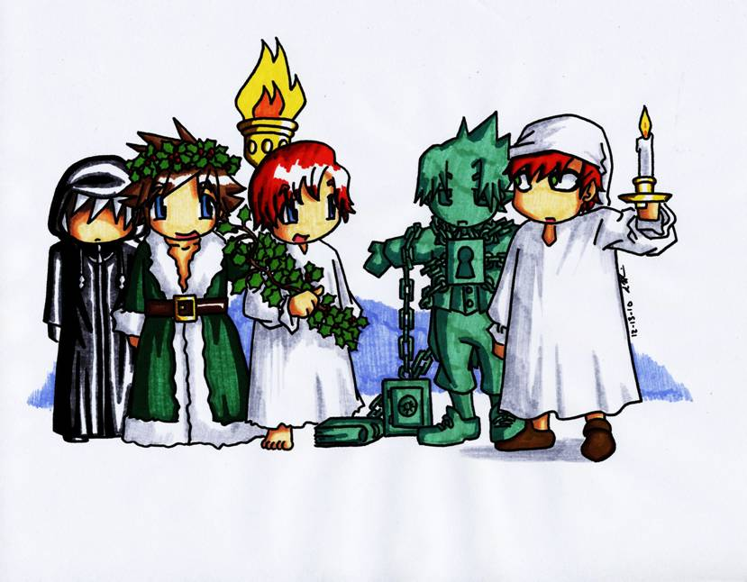 Anime Christmas Carol Ghosts by SeanHalnais