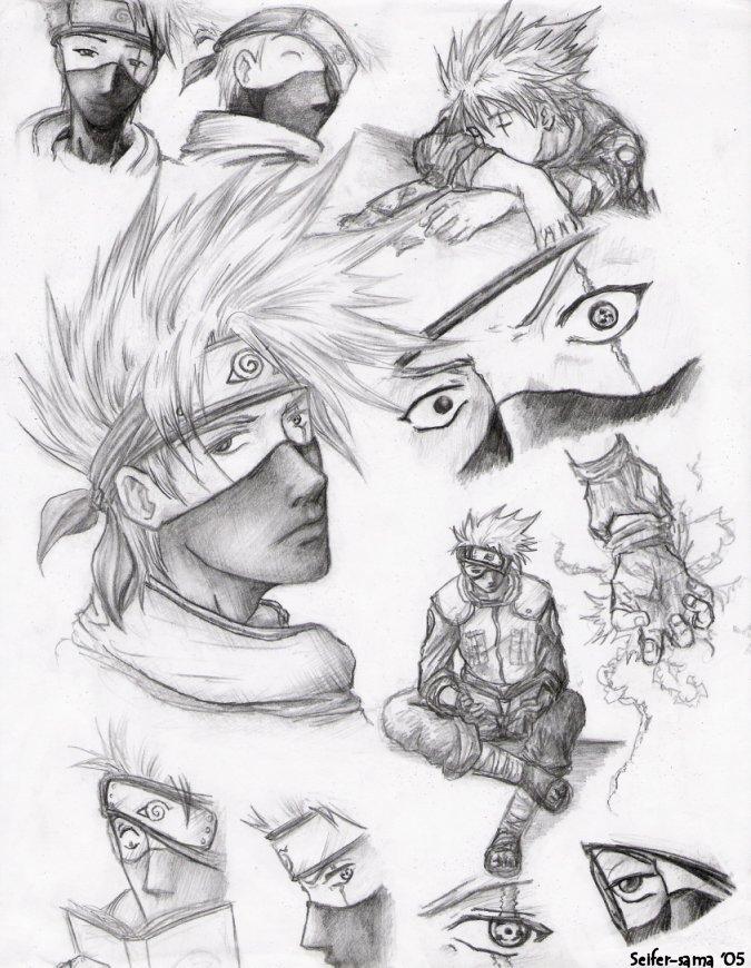 kakashi sketches - 675×870